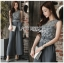 Donna Smart Casual Dark Grey Lace and Crepe Jumpsuit with Belt thumbnail 6