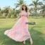เสื้อผ้าเกาหลี พร้อมส่ง งาน Maxi ผ้าชีฟองเนื้ออย่างดี พิมลายดอกไม้สีสดใส รับ Summer thumbnail 1