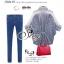 เสื้อผ้าเกาหลี พร้อมส่ง เชิ้ตลายทางฟ้าขาวแขนยาวคอปก thumbnail 2