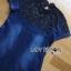 ชุดเดรสเกาหลี พร้อมส่งเดรสผ้าเดนิมตกแต่งผ้าทูลล์ปักลายดอกไม้สีดำ thumbnail 9