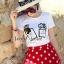( พร้อมส่ง) Set Perfume Print Chanel Style Diamond Fernish Top match with Dotty Red Skirt by Seoul Secret thumbnail 2