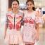 ชุดเดรสเกาหลี พร้อมส่ง dress ลายหงษ์ (swan) สีหวาน เป็นทรงปล่อย เนื้อผ้าอย่างดี thumbnail 3