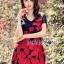 ชุดเดรสเกาหลี พร้อมส่งมินิเดรสปักลายดอกกุหลาบสีแดงสไตล์หวานปรเซ็กซี่ thumbnail 2