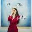 European Chiffon Red Hot Showing Leg Long Sleeve Maxi Dress thumbnail 3