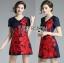 ชุดเดรสเกาหลี พร้อมส่งมินิเดรสปักลายดอกกุหลาบสีแดงสไตล์หวานปรเซ็กซี่ thumbnail 11