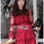 Eva Ruffle Crimson Red Lace Mini Dress thumbnail 1
