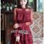 Eva Ruffle Crimson Red Lace Mini Dress thumbnail 4
