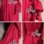 European Chiffon Red Hot Showing Leg Long Sleeve Maxi Dress thumbnail 8