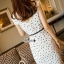 Hollow lace tie waist ivory dress thumbnail 6