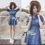 ( พร้อมส่งเสื้อผ้าเกาหลี) เดรสเชิ้ตผ้าเดนิมสไตล์คันทรีแบบโมเดิร์น ตัวนี้ทรงชุดเก๋มาก ช่วงคอเสื้อเป็นทรงเสื้อเชิ้ตติดกระดุมแขนยาว ช่วงเอวเข้ารูป ปลายกระโปรงประดับผ้าจับจีบลูกไม้ thumbnail 2