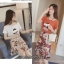 เสื้อผ้าเกาหลีพร้อมส่ง เซท2ชิ้น เสื้อผ้ายืดเนื้อดีกระโปรงผ้าชีฟรองติดดอก3มิติ thumbnail 7