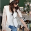 Maria Elegant Double-Breast White Lace Jacket thumbnail 4