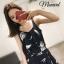 เสื้อผ้าเกาหลีพร้อมส่ง Setเสื้อสายเดี่ยวสีกรมปริ้นลายขนนกสีขาว thumbnail 5