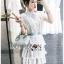 Astrid Blue Back Ribbon Scalloped White Lace Dress thumbnail 2