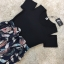 ชุดเดรสเกาหลี พร้อมส่งLong Dress เดรสยาว ช่วงตัวเสื้อเป็นผ้าสเปนเดกสีดำ thumbnail 3