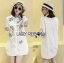 เสื้อผ้าเกาหลี พร้อมส่งเชิ้ตเดรสสีขาวปักลายครอสติส thumbnail 7