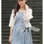 เสื้อผ้าเกาหลี พร้อมส่งเสื้อคลุมผ้าคอตตอนปักลายดอกไม้ thumbnail 1