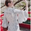 Blooming Flower Printed Chiffon Ruffle Maxi Dress thumbnail 2
