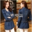Tina Sporty Sweet Double-Breasted Denim Long Jacket thumbnail 3