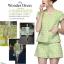เสื้อผ้าเกาหลี พร้อมส่ง ชุดเข้าเซท เนื้อผ้าปั๊ม ลายนูนเป็นลายดอกไม้สีเขียวแบบนูน thumbnail 2