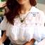( พร้อมส่ง) เสื้อขาวแต่งลูกไม้ซีทรูและระบายอก จั้มแขนตุ๊กตา เอวจั้ม ลุคสาวหวาน ผ้าcotton เนื้อนิ่มใส่สะบาย งานPremium Quality By Cliona thumbnail 3
