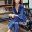 เสื้อผ้าเกาหลี พร้อมส่งจัมป์สูทผ้าเดนิมผูกโบที่เอวสไตล์ลำลอง thumbnail 10