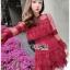 Eva Ruffle Crimson Red Lace Mini Dress thumbnail 6