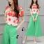เสื้อผ้าเกาหลี พร้อมส่ง Freshy Red Floral Line Top + Apple Green Pant Set thumbnail 4