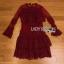 Eva Ruffle Crimson Red Lace Mini Dress thumbnail 7