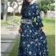 Danielle Flower Printed Navy Blue Chiffon Ruffle Maxi Dress thumbnail 6