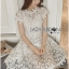 Gabriela Crystal Embellished Flower White Lace Dress thumbnail 5