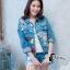 เสื้อผ้าเกาหลี พร้อมส่ง3D Butterfly Denim Jacket thumbnail 1