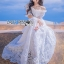 Julienne Country Chic Off-Shoulder White Lace Dress thumbnail 5