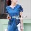 ชุดเดรสเกาหลี พร้อมส่งLV Pocket stick Denim Dress thumbnail 5