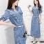 ชุดเดรสเกาหลี พร้อมส่งEmbroidered Floral Denim Dress thumbnail 2