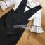 เสื้อผ้าเกาหลีพร้อมส่ง เสื้อผ้าลูกไม้สีขาวทับด้วยเดรสสีดำตกแต่งลูกไม้ thumbnail 6