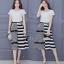 เสื้อผ้าเกาหลี พร้อมส่งZebra Shirt + B&W Line Skirt Set thumbnail 2