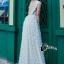 ชุดเดรสเกาหลี พร้อมส่งPearl White 3D Floral Back Show Off Luxury Dress thumbnail 4