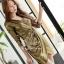 เสื้อผ้าเกาหลี พร้อมส่ง เดรสหรู ลุคสาวมั่น เนื่อผ้าทอพิเศษอย่างดีสีทองมันวับ thumbnail 1