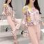เสื้อผ้าเกาหลี พร้อมส่งเซ็ตเสื้อลายดอกไม้โทนชมพู thumbnail 3