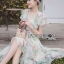 Leandra Magic Garden Ruffle Printed Chiffon Dress thumbnail 7