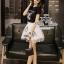 เสื้อผ้าเกาหลี พร้อมส่งเซ็ทเสื้อกับกระโปรงแบรนด์เนม ดีเทลแต่งรูปน้องแมวน่ารัก thumbnail 2