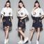 เสื้อผ้าเกาหลี พร้อมส่งGucci new collection embroider and denim skirt set thumbnail 8