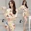 เสื้อผ้าเกาหลี พร้อมส่งเซ็ตเสื้อ+กางเกงขาสั้น พิมพ์ลายนกนาๆชนิด thumbnail 2