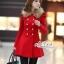เสื้อผ้าเกาหลี พร้อมส่งเสื้อโค้ทสีแดงแต่งขนเฟอ thumbnail 3