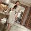 Hollow lace tie waist ivory dress thumbnail 1