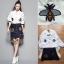 เสื้อผ้าเกาหลี พร้อมส่งGucci new collection embroider and denim skirt set thumbnail 7