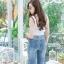 เสื้อผ้าแฟชั่นพร้อมส่ง กางเกงยีนส์ขายาว แนวเซอร์ๆ สียีนส์ฟอก thumbnail 7