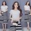 เสื้อผ้าเกาหลี พร้อมส่งZebra Shirt + B&W Line Skirt Set thumbnail 3