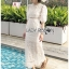 Sofie Modern Vintage Embroidered and Laser-Cut White Cotton Long Dress thumbnail 3